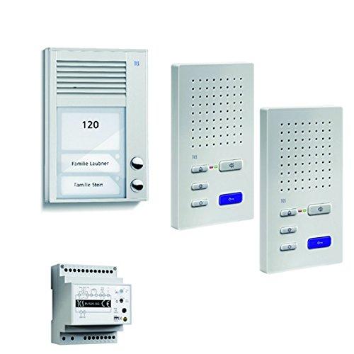TCS home:pack Audio, Aufputz, Zweifamilienhaus, PSC2220-0000 - bestehend aus Audio Außenstation Serie PAK 2 Tasten AP, 2x Audio Komfort Freisprecher ISW3130 and Steuergerät BVS20