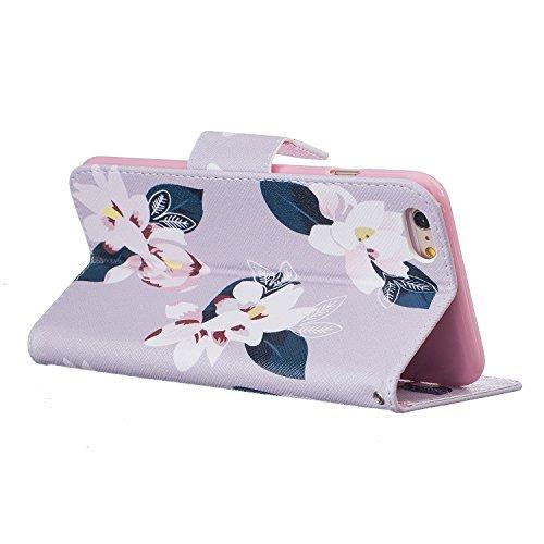 Ooboom® iPhone 5SE Hülle Flip PU Leder Schutzhülle Handy Tasche Case Cover Wallet Brieftasche Standfunktion für iPhone 5SE - Bär Lilie Grau