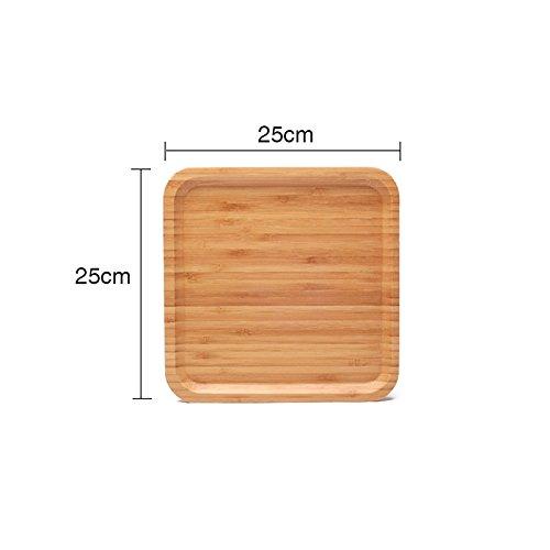 Bezigeorey Palette En Bois Bambou Western-Style Ménage Steak Alimentaire, Assiette À Pain[Log Couleur] Place 25Cm