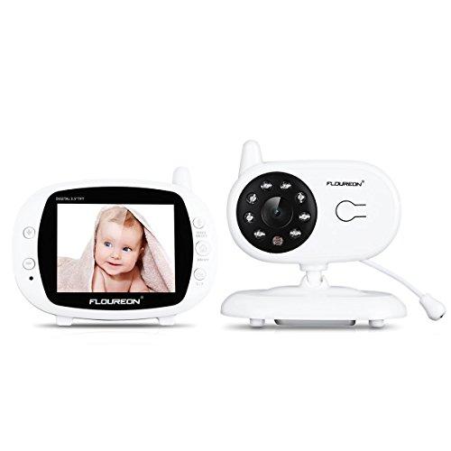 """FLOUREON Wireless Baby Monitor Videocamera Bambini 3.5"""" LCD, Interfono, Visione Notturna, Monitoraggio Temperatura, 4 Ninna Nanna"""