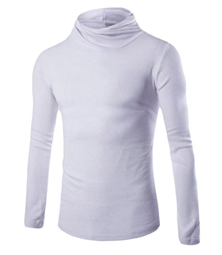 Tootlessly Men's Casual Turtleneck Solid Colored Wild Pullover Knitwear