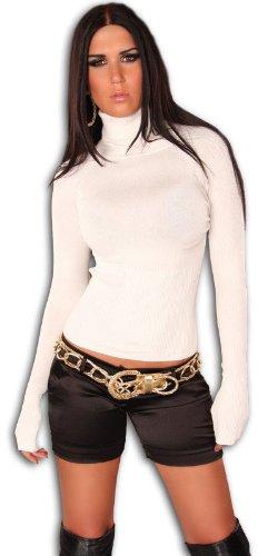 In Style Damen Pullover langärmelig mit Rollkragen, weiß Größe 36 38 40