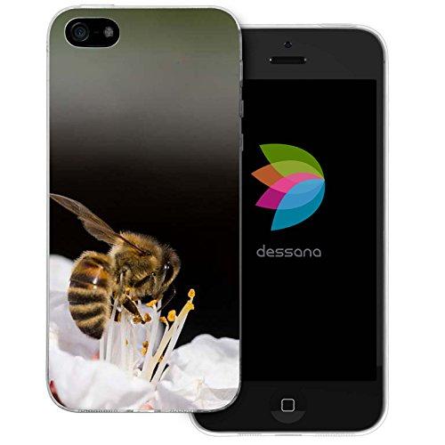 dessana Herz für Bienen Transparente Silikon TPU Schutzhülle 0,7mm Dünne Handy Tasche Soft Case für Apple iPhone 5/5S/SE Biene Nektar
