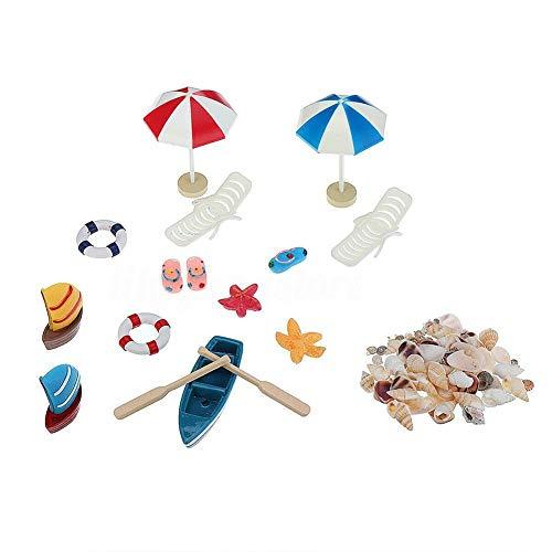 Miniatur Strand Set Meer Thema Strand Stil Puppenhaus Dekoration Outdoor DIY Fairy Garden Micro Landschaftsbau Ornament Kits Spielen Spielzeug für Kinder Zubehör Mädchen Spielzeug