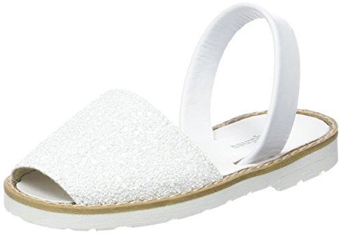 Minorquines Avarca-Paillettes, Sandales Bride Arriere Fille Blanc
