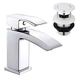 Basin Tap, Bathroom Sink Mixer Tap Waterfall Chrome with Pop Up Waste Hapilife