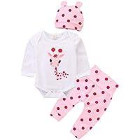 DERCLIVE 2 Piezas para Niños Pequeños Bebés Recién Nacidos Jirafas Mamelucos Tops + Pantalones Trajes de Ropa Blanco + Rosa