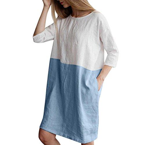 FNKDOR Damen Langarm Casual Blusenkleider Leinen Baumwolle Kleider (S, Blau)