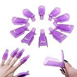 10 Pack Acrylique Nail Art Tremper Hors Clip Capuchon UV Gel Dissolvant Vernis à Ongles Wrap Tool-Violet