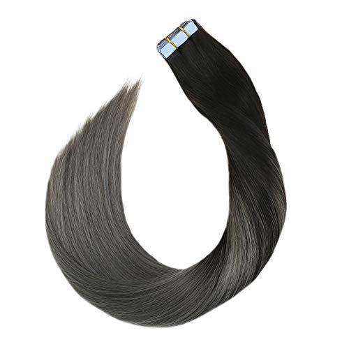 Ugeat 40cm 50g Tape in Echthaar Extensions Balayage #1B/Silber Tape Klebeband Extensions 100% Echtes Menschliches Haar Glatt 20 Stück -