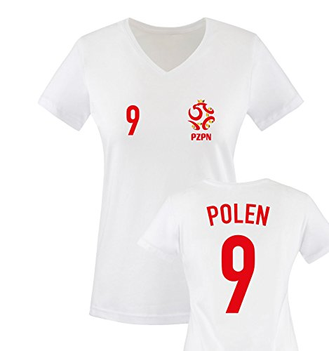 EM 2016 - TRIKOT - EM 2016 - POLEN - 9 - Damen V-Neck T-Shirt - Weiss / Rot-Gold Gr. S
