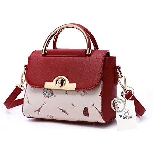 Yoome Cartoon Ladies Borsa Portafoglio Borsa Top Borse per le donne Borse Piccole Piccole Borse per Bagagli Donna - Nero Rosso