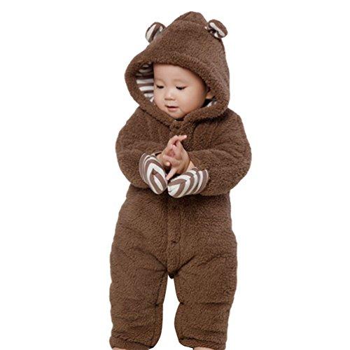 Baymate Unisex Baby Dicker Rompers mit Kapuze Warm Strampler Strampelanzug Button-down Jumpsuits Kletterbekleidung mit Handschuhe Braun 85