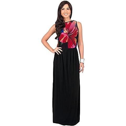KOH KOH® La Mujer Vestido Maxi largo floral sin mangas coctel