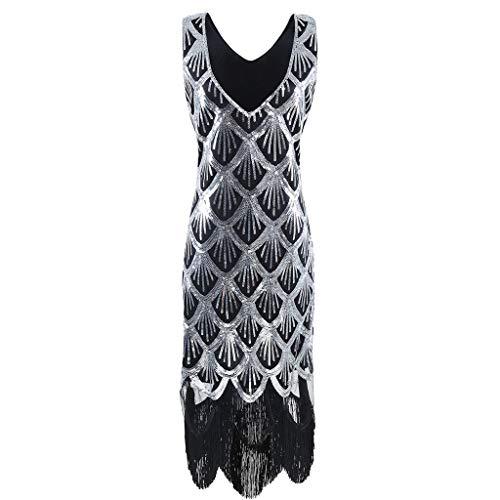 Fransen Ärmellos Pailletten Kleid Spitze Hochzeit Flapper PartykleidAbendkleid Spitzenkleid(Schwarz,EU-36/CN-XL) ()