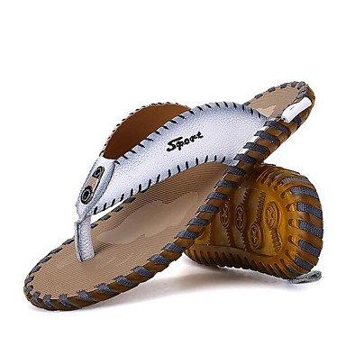 Slippers & amp da uomo;Estate Comfort pelle bovina casuale, sandali Arancione sandali White