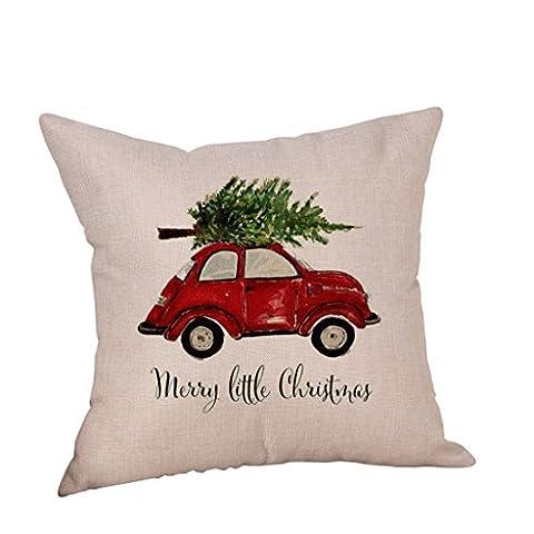 Vovotrade Reizendes Weihnachtsauto Leinenkissen Abdeckungs Wurf Kissen Kasten für frohe Weihnacht Dekoration (A)