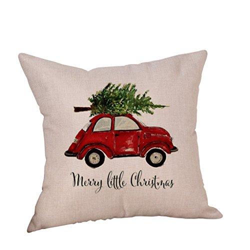 Feder Seide Dekorativen Kissen (Vovotrade Reizendes Weihnachtsauto Leinenkissen Abdeckungs Wurf Kissen Kasten für frohe Weihnacht Dekoration (A))