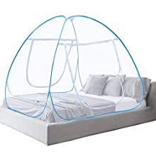Vangold Mosquito Net Bed Canopy Pop Up Foldable Double Door Easy to Setup with Bottom Anti Mosquito Bites for Bed Camping Travel Home Outdoor Blue(King Size, 180 * 200 * 150 cm) (Blue)