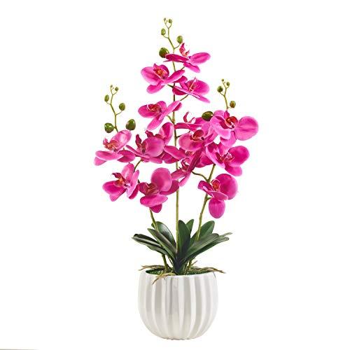 Alicemall Kunstpflanze Orchidee Künstliche Blumen Deko mit Übertopf aus Keramik 68x20x20 cm Lila