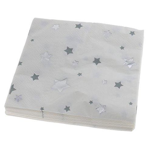amagogo Packung Mit 20 Stern Stil Papierservietten Einweg Servietten Geschirr Silber - Silber, 25 x 25 cm