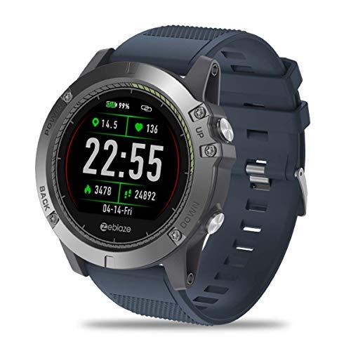HFJ&YIE&H Männer Sport Smartwatch,Haltbarkeit 5 ATM wasserdicht Smartwatch Tragbar Langer Standby Batterie Herzfrequenz-Messgerät für iOS/Android,Bluetooth 4.0,C