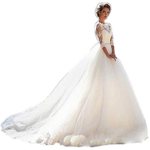 CoCogirls Land Jahrgang Spitze Hochzeitskleider Halbe Ärmel Prinzessin Kleider für Hochzeitskleid...
