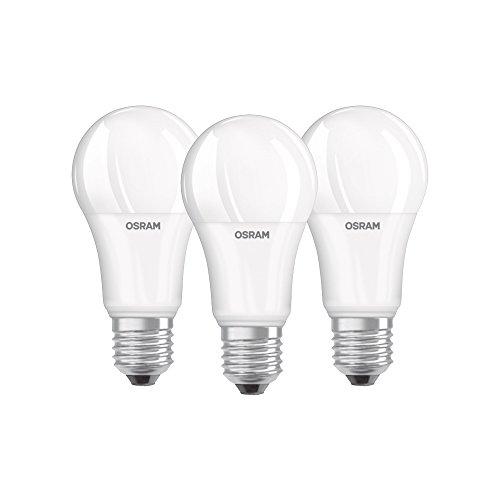 Osram LED Base Classic A Lampe, in Kolbenform mit E27-Sockel, nicht dimmbar, Ersetzt 100 Watt, Matt, Kaltweiß - 4000 Kelvin, 3er-Pack -