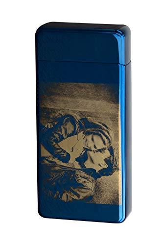 TESLA Lighter T13 elektronisches USB Lichtbogen Feuerzeug, Blau mit Ihrem Foto, als Logo-Gravur, Bilder-Gravur, Motiv-Gravur. Personalisiertes Geschenk