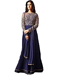Fkart Women's Blue Embroidered Net And Georgette Semi Stitched Salwar Suit With Dupatta