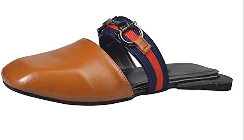 Plana con cabeza cuadrada y una mujer medio de arrastre sandalias planas y zapatillas zapatos antideslizantes...