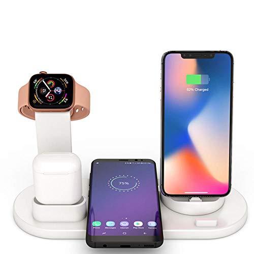 Baiwka Support De Chargeur sans Fil, Station De Chargement sans Fil 4 en 1 pour Apple Watch Et Airpods, Station De Chargement sans Fil Qi Fast Compatible avec Les IPhone X/XS/XR/XS Max / 8/8 Plus