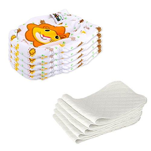 Dazone® Bébé Maillot Culottes Couche Lavable avec Des Petits Boutons + Insert pour Filles Garçons de 3 à 15kg (Lot de 5pcs) (Lion)