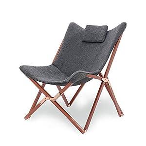 Suhu Klappstuhl Camping Stuhl Lounge Sessel Modern Design Retro Stühle Liegestuhl Klappbar Gartenliege Auflagen…