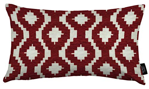 McAlister Textiles - Aztec Kollektion | Großer rechteckiger Kissenbezug im geometrischen Arizona-Muster | 60cm x 40cm in Rot | Deko Kissenhülle für Zierkissen, Sofa, Bett, Couch Jacquard Chenille