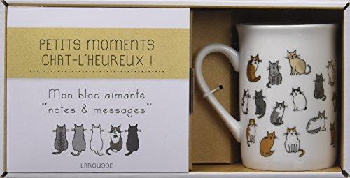 Petits moments chat-l'heureux : Coffret bloc aimant + 1 tasse