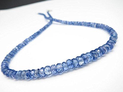 Luce blu cianite pietra preziosa collana kyk1argento platedgemstone cianite pietra dei nati ottobre estate collier accessori, gioielli, regalo di compleanno, 42cm 4–6mm