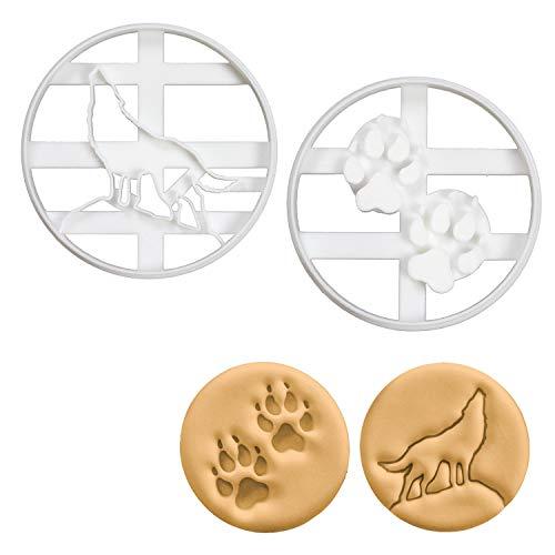 �lfe Ausstechformen (Formen: Heulender Wolf und Wolfspfotenabdrücke), 2 Teile ()