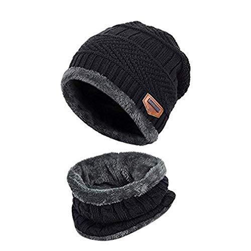 Kinder Winter Mütze Hut Schal Set Warme Dicke Knit Ski Schädel Cap mit Fleece Futter für Kinder Jungen Mädchen Fuzzy-ski