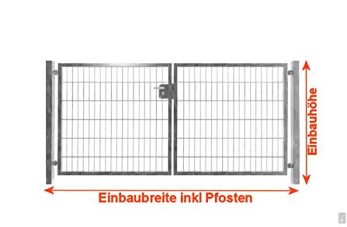 Hochwertiges 2-flügeliges Tor Verzinkt / Einbaubreite 350cm x Einbauhöhe 103cm / 2-flügelig Verzinkt Tor Hoftor Doppeltor Gartentor