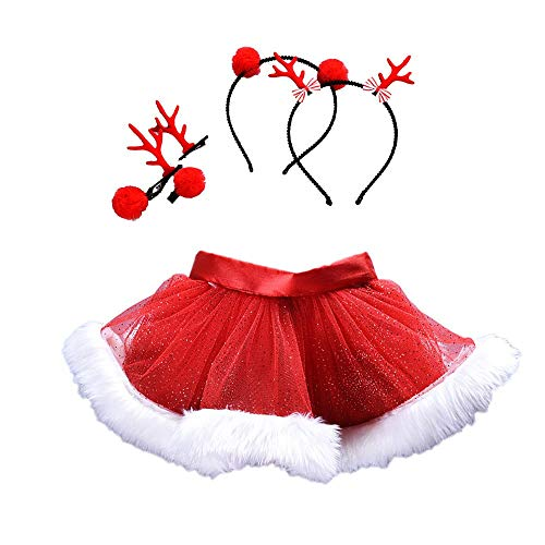Elecenty Tutu di Natale per bambina Gonne balletto Fancy Party Skirt + Hair Hoop Natale Set (5 anni, Rosso 2)