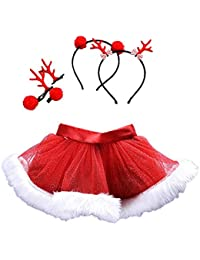 Subfamily Baby Girl Child Christmas Skirt Princess Dress Ballet Skirt Fancy Party Dress + Headband Suit