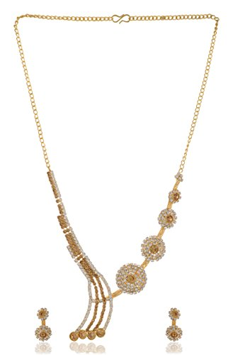 Stunning Queen Gold Plated Strand Necklace Set for Women (SQ060)  available at amazon for Rs.399