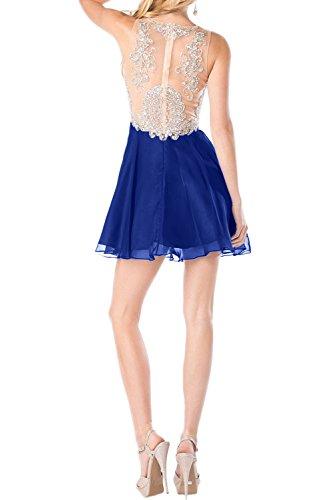 Sunvary Festlich Neu Applikation Minikleider Royalblau Chiffon  Cocktailkleider Kurz Abschlussball Abiballkleider Abendkleid Dunkelgruen ...