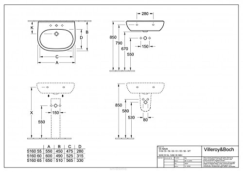Villeroy & Boch o. Novo 516065Waschtisch 650x 510mm