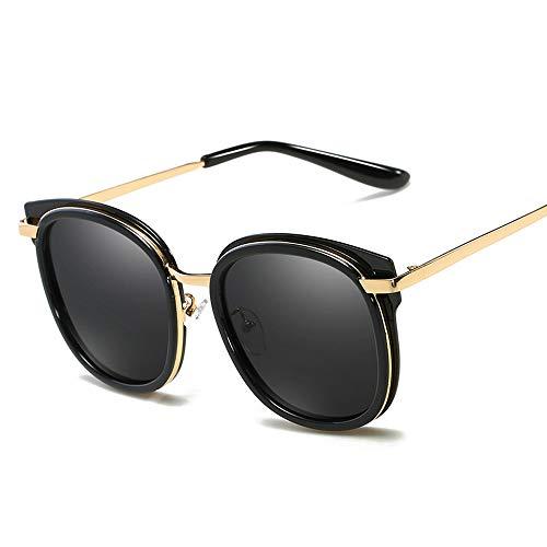 Easy Go Shopping Mode Retro cat Eye Rahmen männer Frauen Fahren Sonnenbrille polarisierte Sonnenbrille Sonnenbrillen und Flacher Spiegel (Color : Schwarz, Size : Kostenlos)