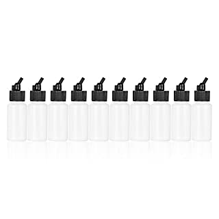 Aibecy 10PCS Airbrush Plastic Lack Flaschen Gläser Töpfe Deckel Adapter Dual-Action Siphon Feed Air Brush Supplies 22cc