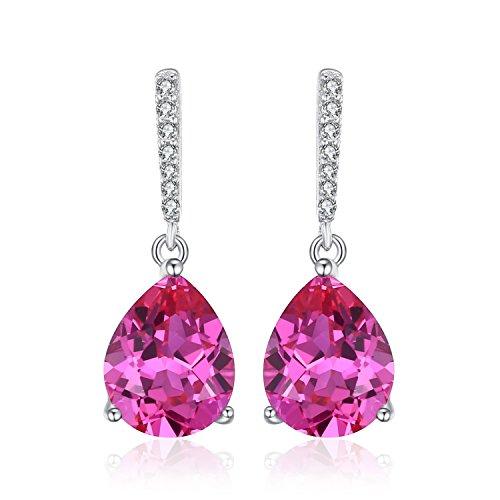 4 - Jewelrypalace Pendientes elegante largo en forma de pera adornado Zafiro rosa creado en plata de ley 925