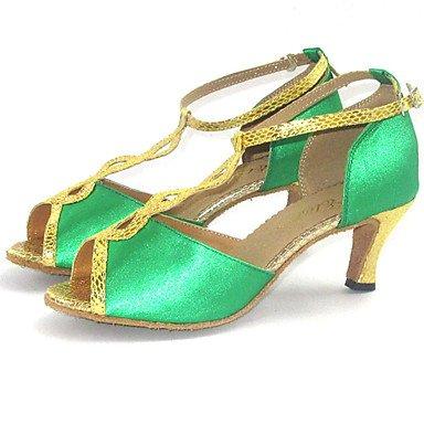 XIAMUO Angepasste Latin Women's Sandals Satin Schuhe mehr Farben Grün