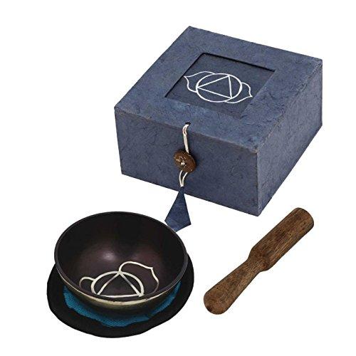 RoyaltyRoute Palm taille violet tibétain méditation troisième œil Chakra chant bols sertie de coussin diamètre 8,65 CM